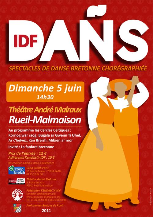 pectacle de danse bretonne chorégraphiée « Dañs » dimanche 5 juin de 14h30 à 17h30 au théâre André Malraux à Rueil-Malmaison (92500)